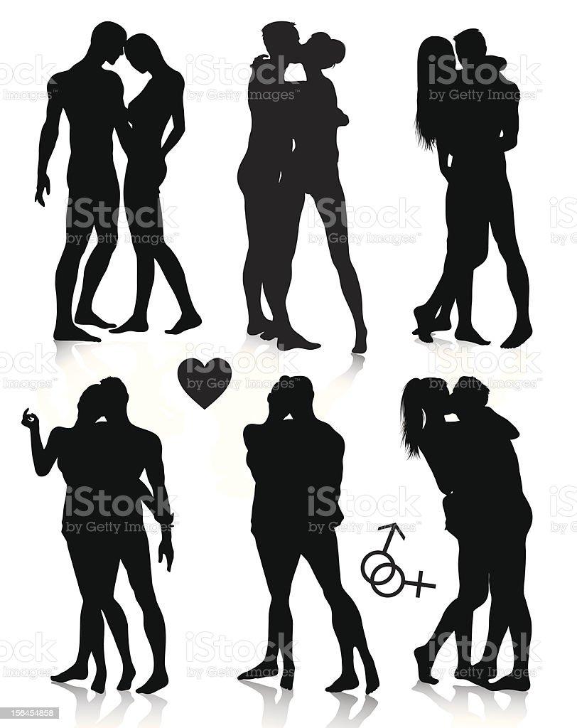 Couple silhouettes set vector art illustration