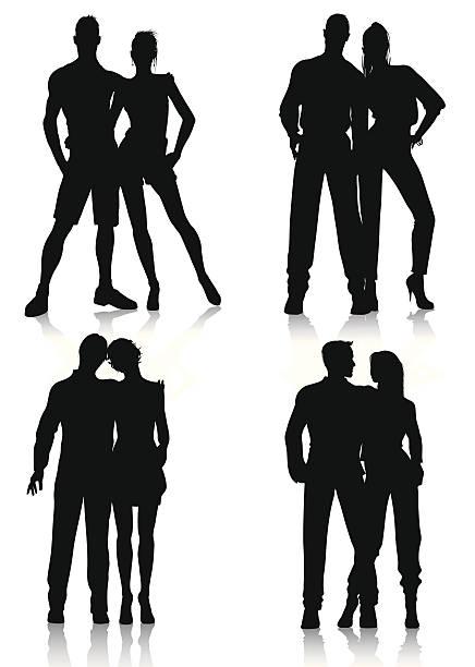 couple silhouettes vector art illustration