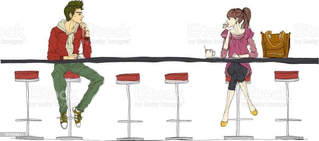 Couple sitting at bar counter royalty-free stock vector art