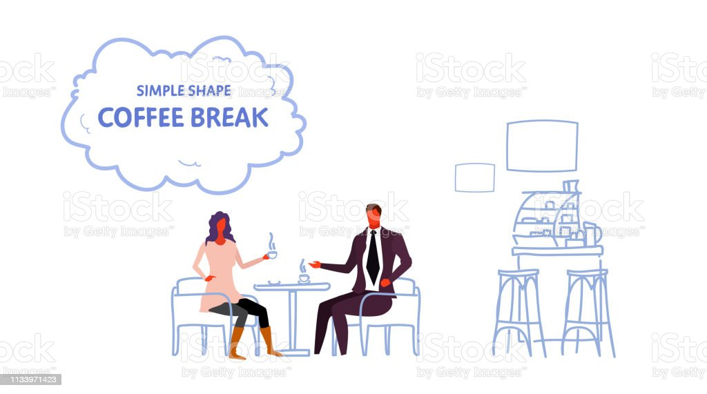 Couple Sitting Cafe Table Coffee Break Concept Man Woman