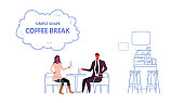 couple sitting cafe table coffee break concept man woman business people drinking and chatting modern cafeteria interior male female characters full length sketch horizontal vector illustration