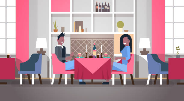 couple sitting cafe table romantic dinner happy valentines day celebration concept african american man woman love dating modern restaurant interior horizontal flat couple sitting cafe table romantic dinner happy valentines day celebration concept african american man woman love dating modern restaurant interior horizontal flat vector illustration african american valentine stock illustrations