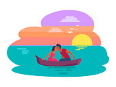 Couple sitting in boat and kissing, summer and romantic evening for couple, man and woman in love, vector illustration isolated on white background