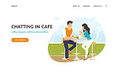 Couple sitting in the cafe, flirting and chatting together. Flat concept vector website template and landing page design of students talking about something in cozy place