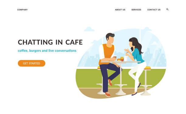 illustrazioni stock, clip art, cartoni animati e icone di tendenza di couple sitting in the cafe, flirting and chatting together - dinner couple restaurant
