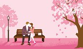 Couple sitting on a Bench Pink color