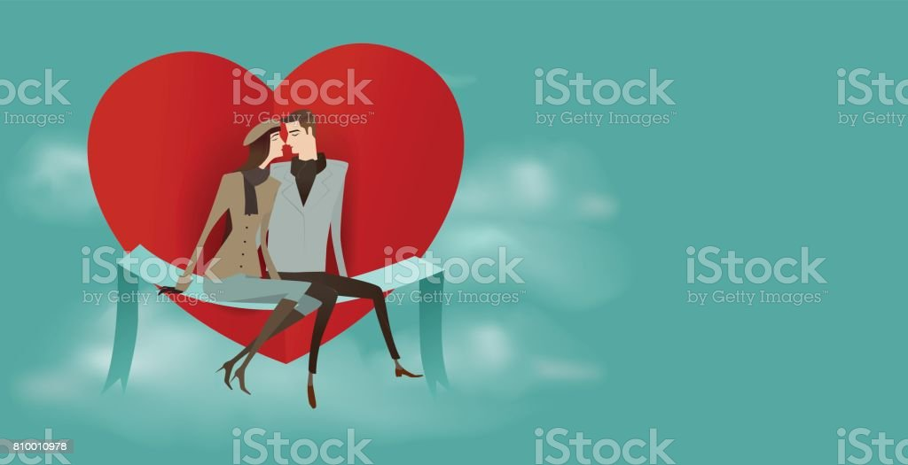 Couple assis sur un coeur rouge. - Illustration vectorielle