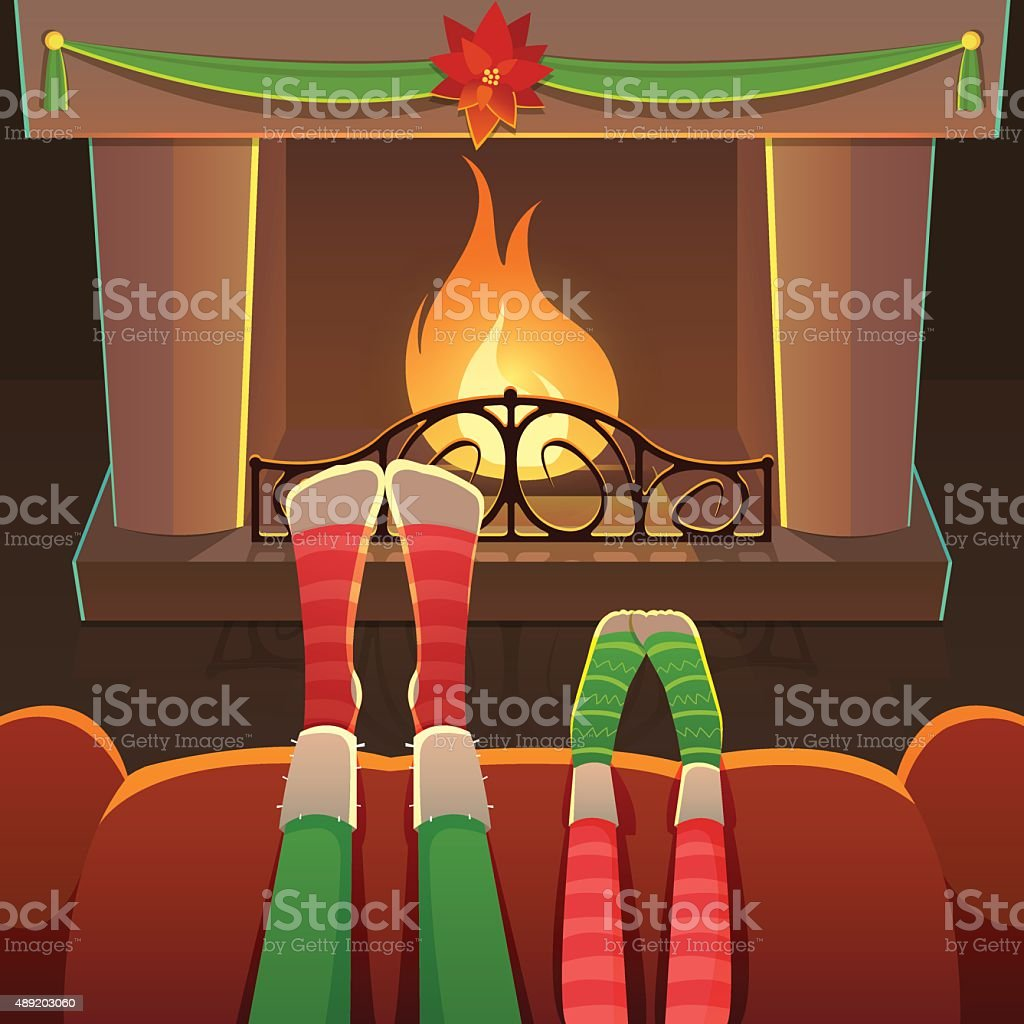 couple sitting on armchair in front of fireplace stock vector art