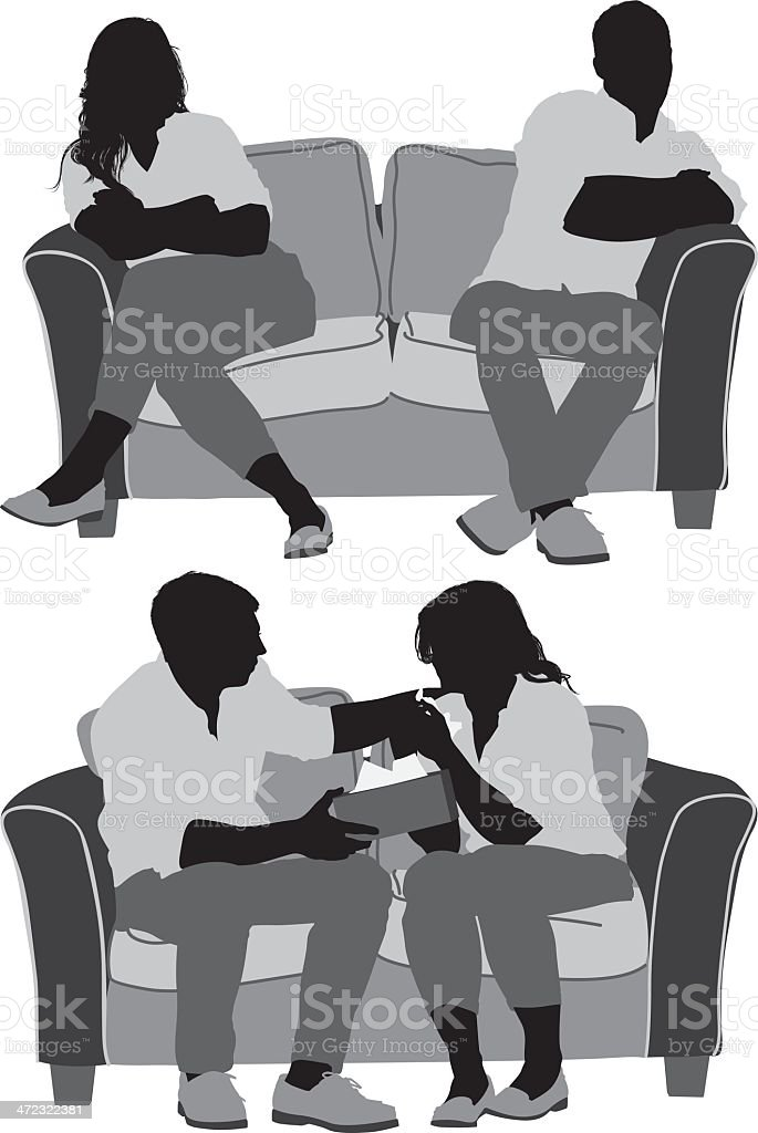 Couple sitting on couch vector art illustration