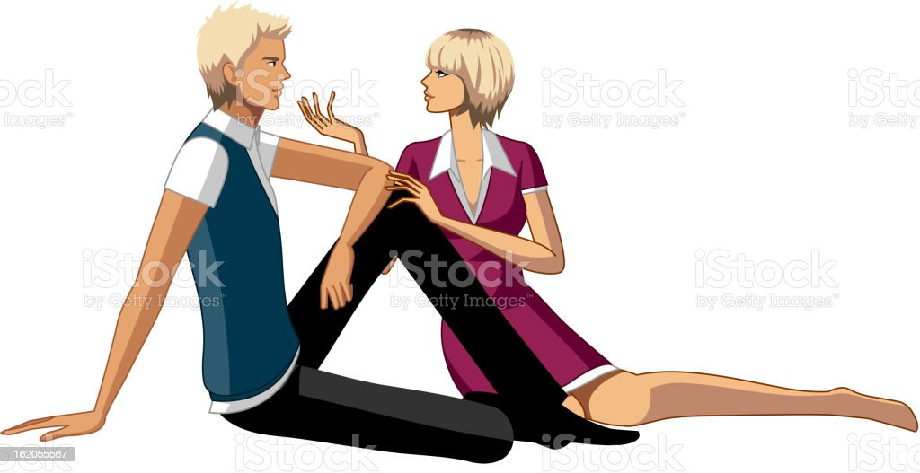 Couple sitting on floor royalty-free stock vector art