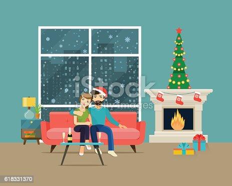 Couple at home sitting on sofa. Christmas room interior. Christmas tree, fireplace and sofa. Vector flat illustration