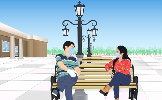 Couple sitting outdoors with social distancing