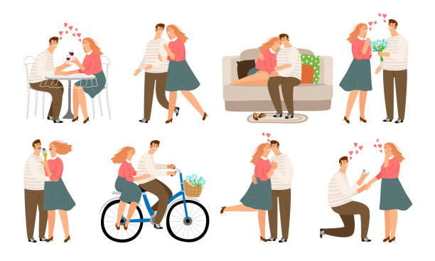 couple situations. young people, woman and man in love kiss walk quarrel and couch sofa - kiss stock illustrations