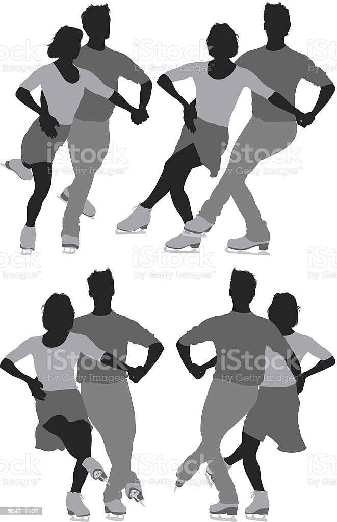 Couple skating on ice royalty-free stock vector art