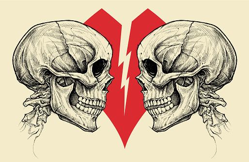 Couple Skulls and Broken Heart Symbol vector.
