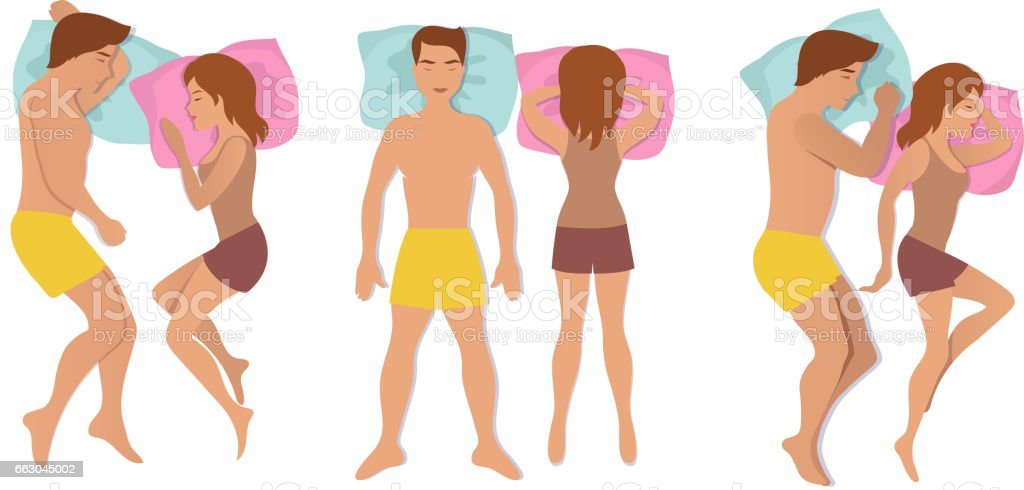 Couple sleeping poses. Man and woman resting and dreaming positions vector illustration vector art illustration
