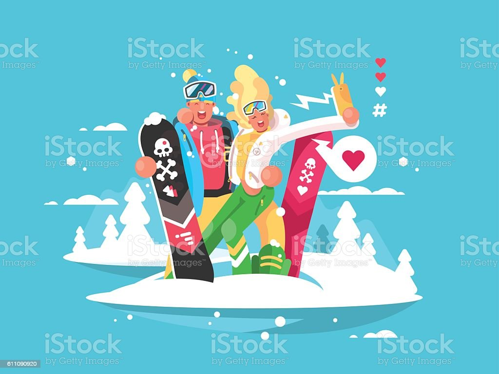 Couple snowboarders boy and girl vector art illustration