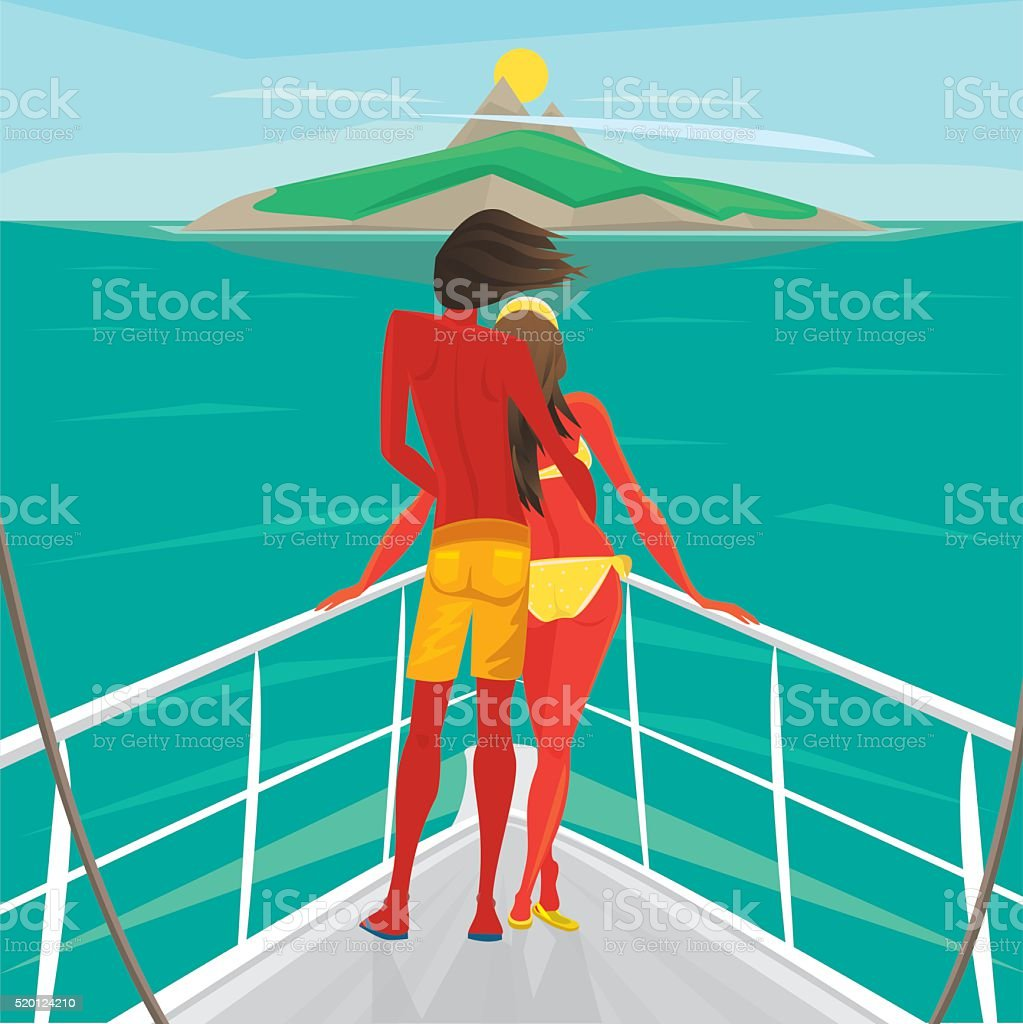 Couple standing on a yacht and admire the island vector art illustration
