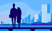 Couple standing on sea pierce at night. Silhouette of young man and woman hugging flat vector illustration. Romance, dating outdoors concept for banner, website design or landing web page