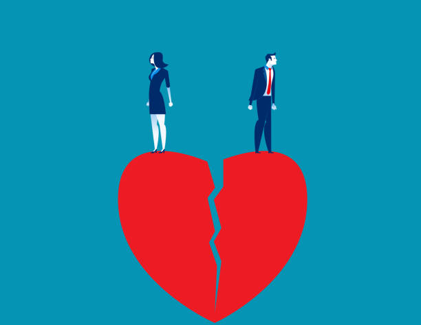 illustrazioni stock, clip art, cartoni animati e icone di tendenza di couple standing on top of broken heart. concept people vector illustration. - divorzio