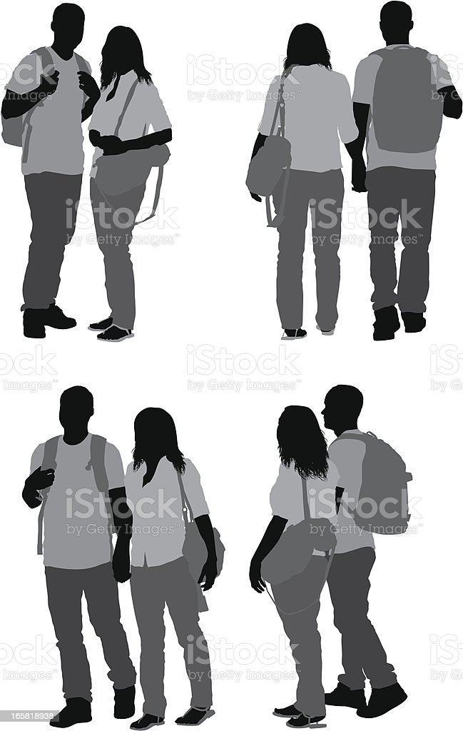 Couple standing together vector art illustration