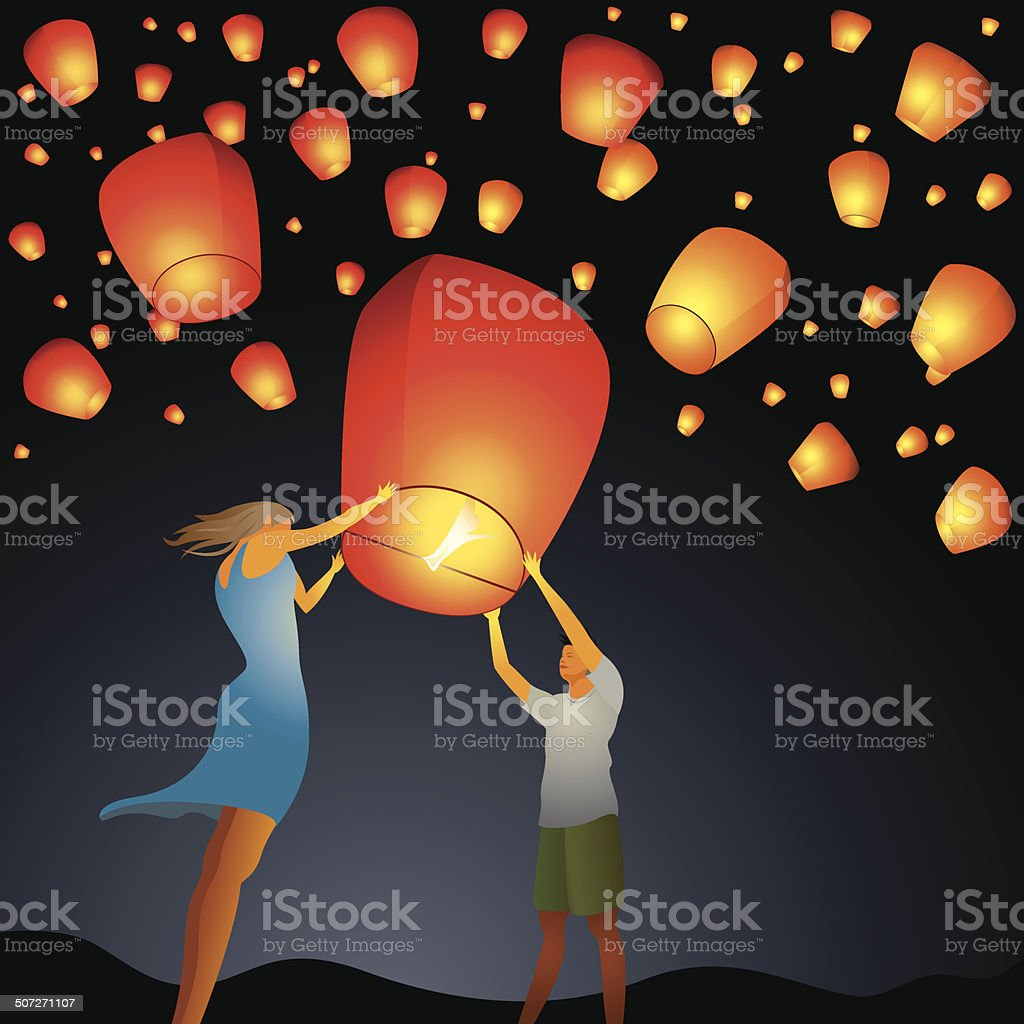 Couple start a red Chinese wish lantern to the sky vector art illustration