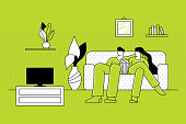 Couple watching TV. Home leisure activities concept. Editable vectors on layers.