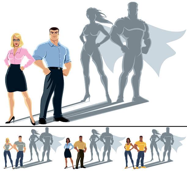 bildbanksillustrationer, clip art samt tecknat material och ikoner med couple superhero concept - superhjälte isolated