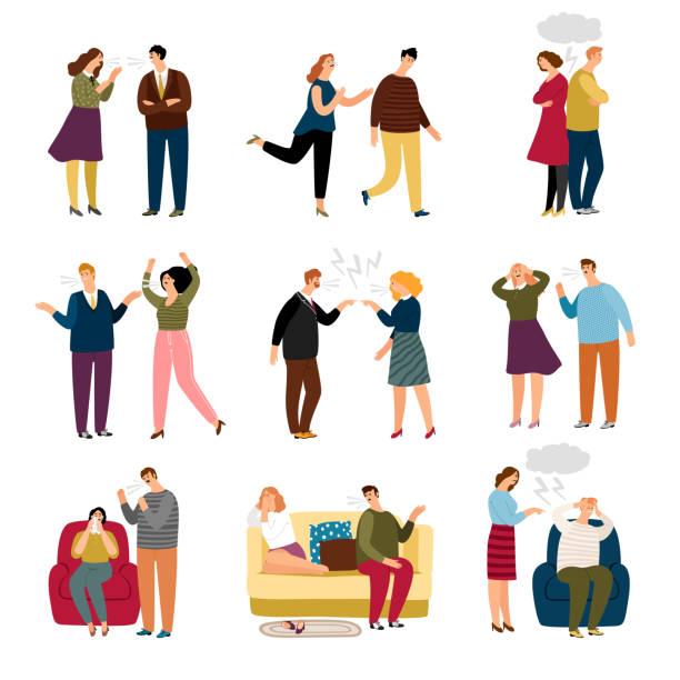 stockillustraties, clipart, cartoons en iconen met koppel zweert en ruzie. aantal situaties - relatieproblemen