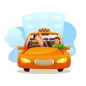 Couple taking taxi flat illustration