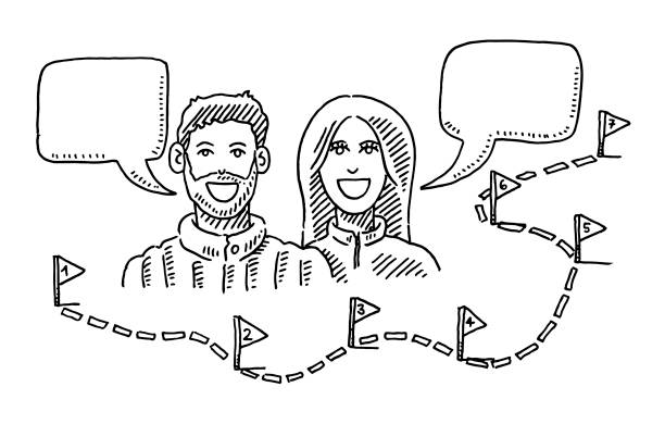 Couple Talking About Path And Steps Drawing Hand-drawn vector drawing of a Couple Talking About a Trip with a dotted line Path And Flags with Numbers as Steps. Black-and-White sketch on a transparent background (.eps-file). Included files are EPS (v10) and Hi-Res JPG. women stock illustrations