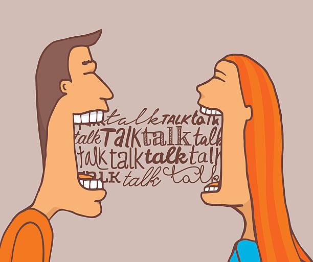 rozmawiająca para i udostępnianie konwersacji - język otwór gębowy stock illustrations