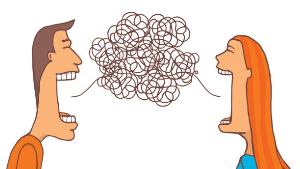 couple talking and sharing a tangled message - communication problems stock illustrations, clip art, cartoons, & icons