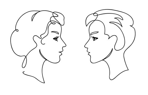 illustrazioni stock, clip art, cartoni animati e icone di tendenza di couple teens communication concept. young man and woman faces silhouettes. continuous one line drawing. black and white vector illustration - gemelle