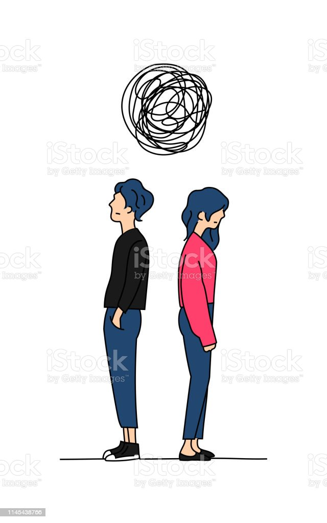 Couple Penser Compliqué Relation Problème Doodle Couleur