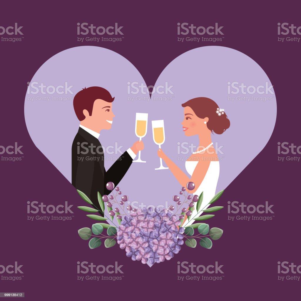 Couple Grillage Vin Verres Par Carte De Coeur Fleur Mariage