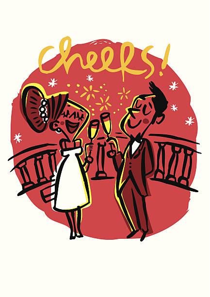 Brindis pareja con champán para celebrar una fiesta - ilustración de arte vectorial
