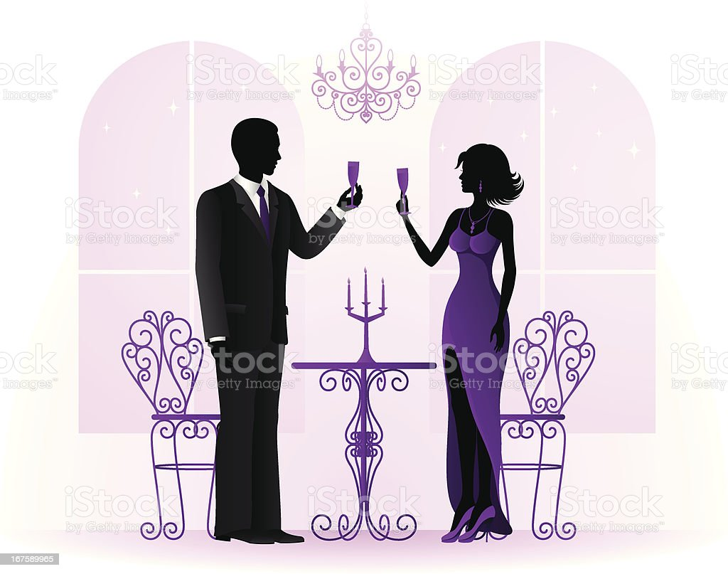 Couple Toasting with Champagne royalty-free stock vector art