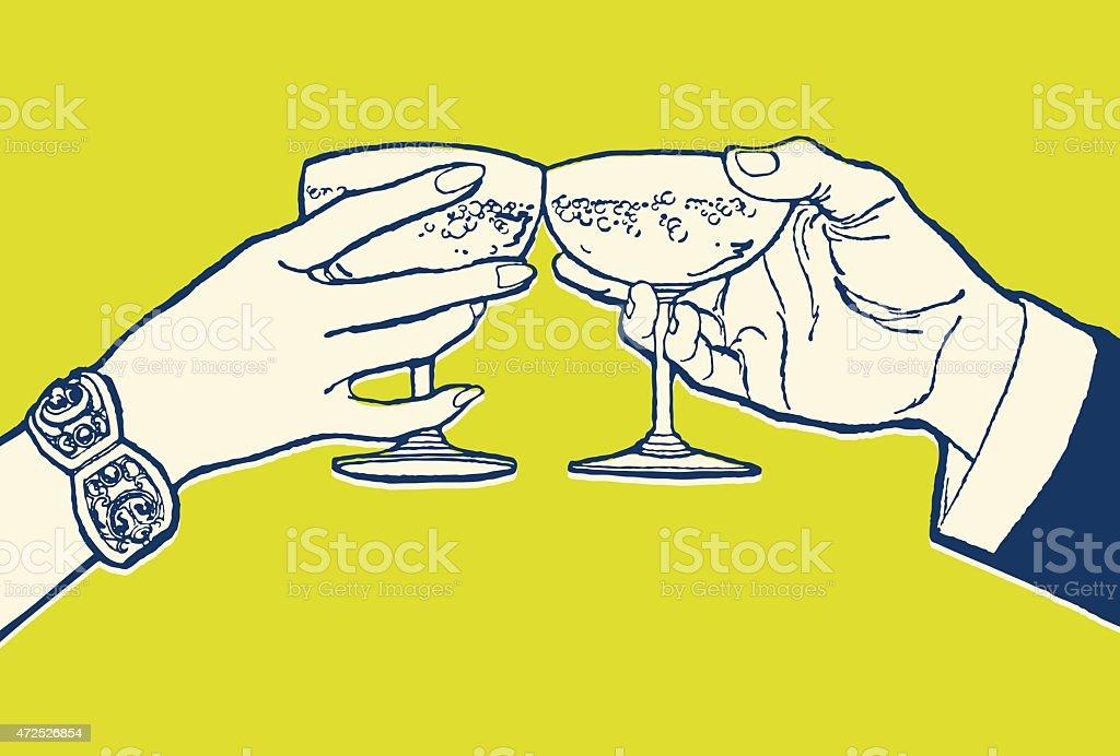 Coppia brindando con cocktail - illustrazione arte vettoriale
