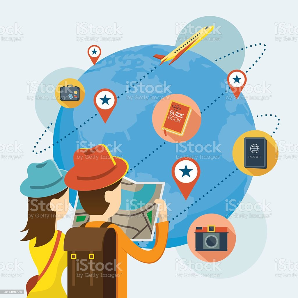 Couple Tourist reading Map Plan to Travel Worldwide vector art illustration