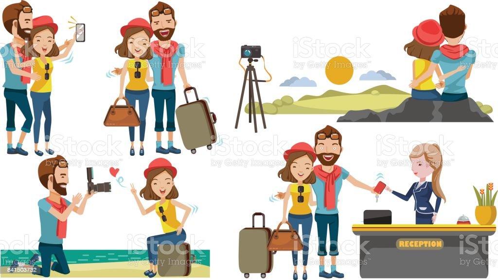 Couple travel vector art illustration