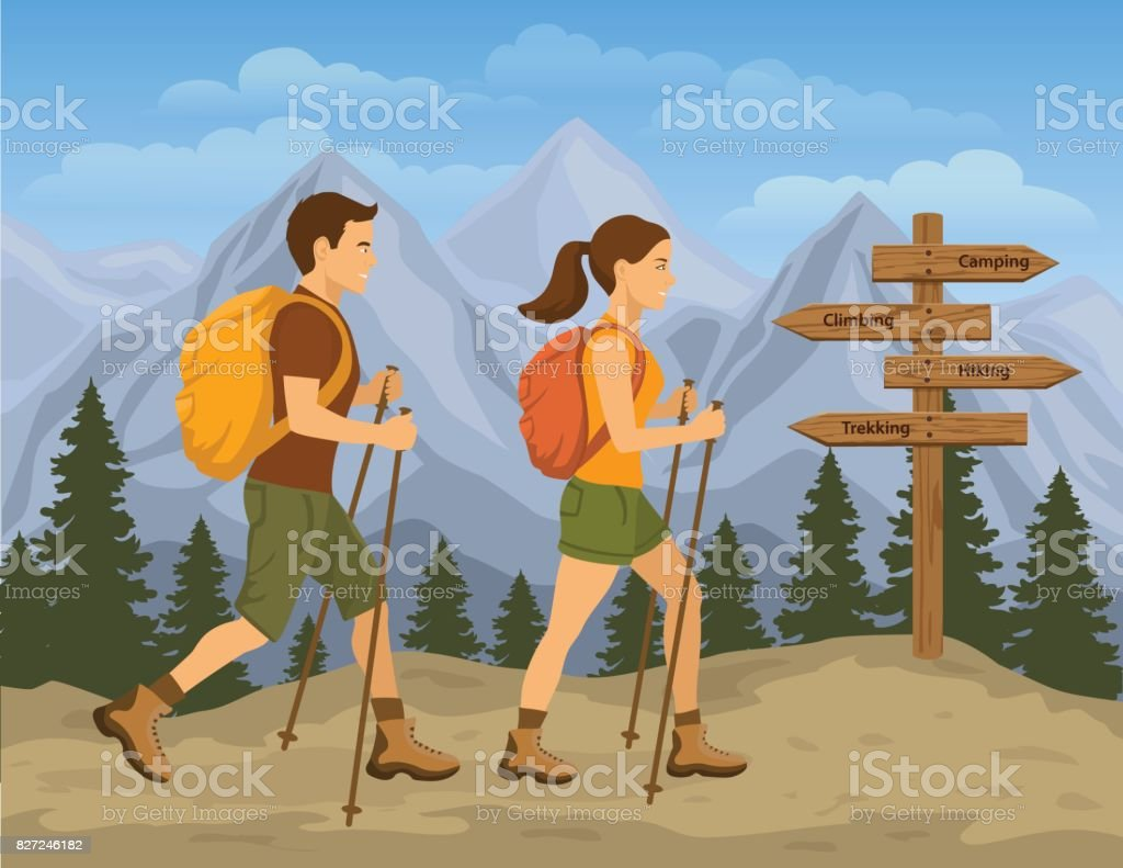 Couple traveling in Mountains. Man and Woman Hiking vector art illustration