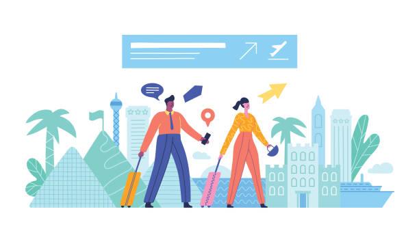 illustrazioni stock, clip art, cartoni animati e icone di tendenza di couple traveling - illustrazioni su destinazioni di viaggio
