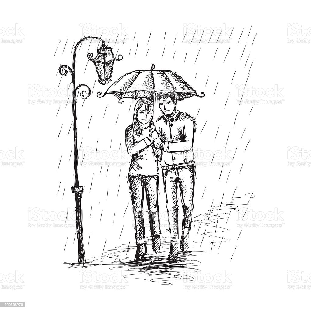 Couple under an umbrella in the rain hand drawing illustration royalty free couple