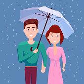Couple Under Umbrella Together In The Rain, They Happy Rainy Season, Monsoon, Raindrop, People, Relationship, Clothing