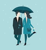 Cute girl and boy hiding under an umbrella from the snow. Vector illustration