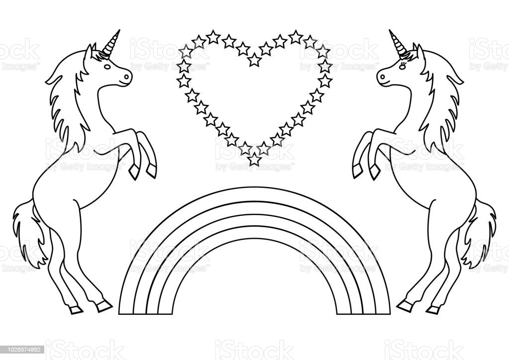 Couple Unicorns With Rainbow And Heart With Stars Coloring Page For ...