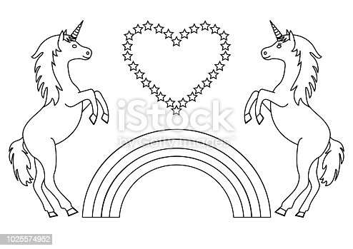 istock Unicornio lindo sentado en un arco iris con corazones vector ...