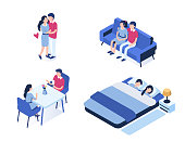 Young couple characters are resting together.  Flat isometric vector illustration isolated on white background.
