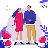 Young couple in love. Can use for web banner, posters, greeting cards. Flat vector illustration isolated on white background.